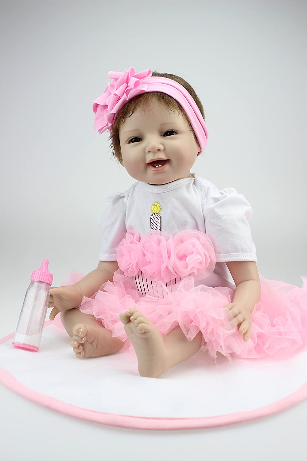 iCradle Real Life 22inch 55cm Reborn Baby Dolls Toddler Soft Silicone Baby Newborn Doll Toy for Ages 3+