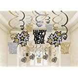 Amscan Rocking New Year Party Hanging Swirl Decorations (Pack of 30), Black/Gold/Silver, One Size