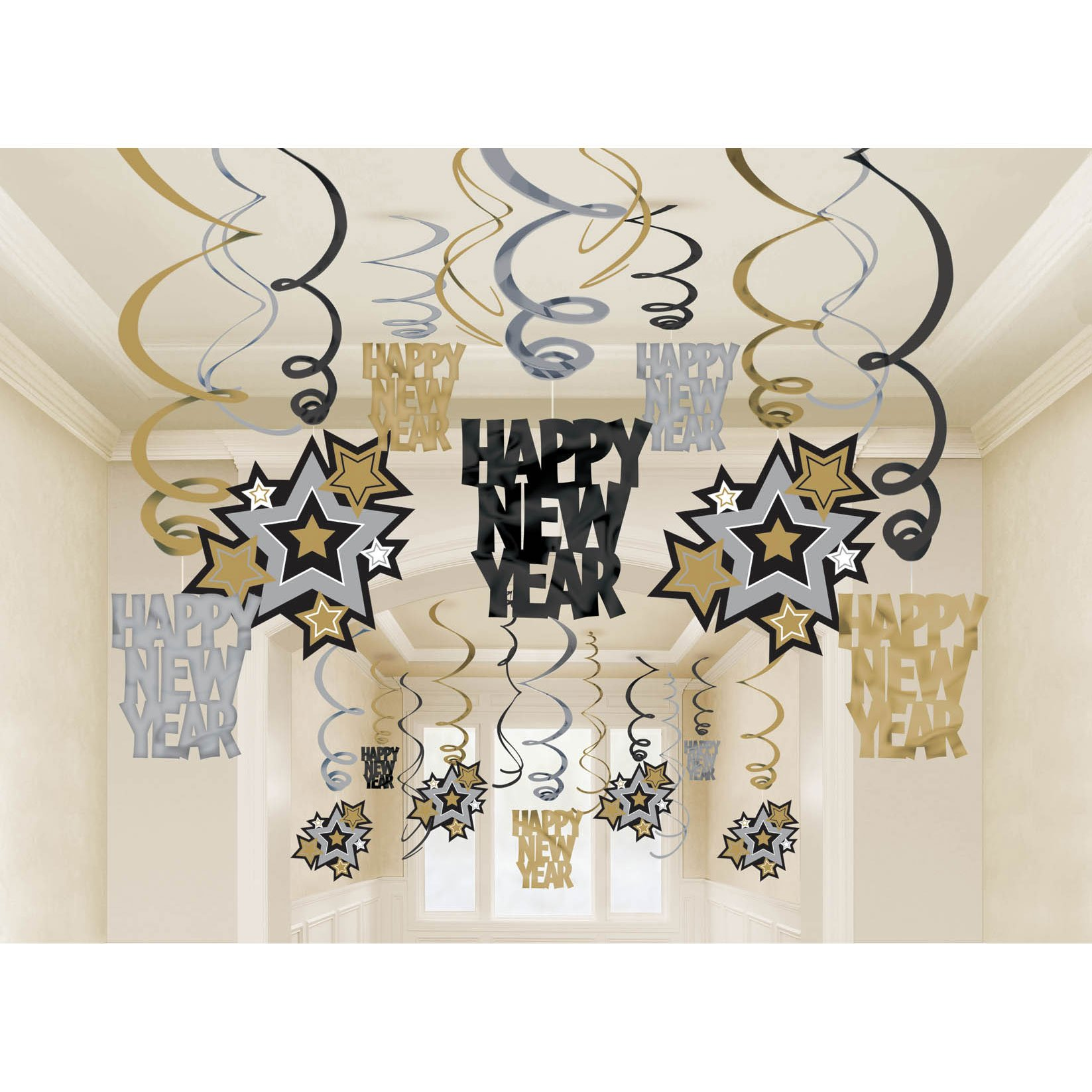 Amazon.com: Happy New Year Decorations Happy New Year Banner Chinese ...
