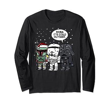 unisex star wars christmas boba its cold outside long sleeve tee small black