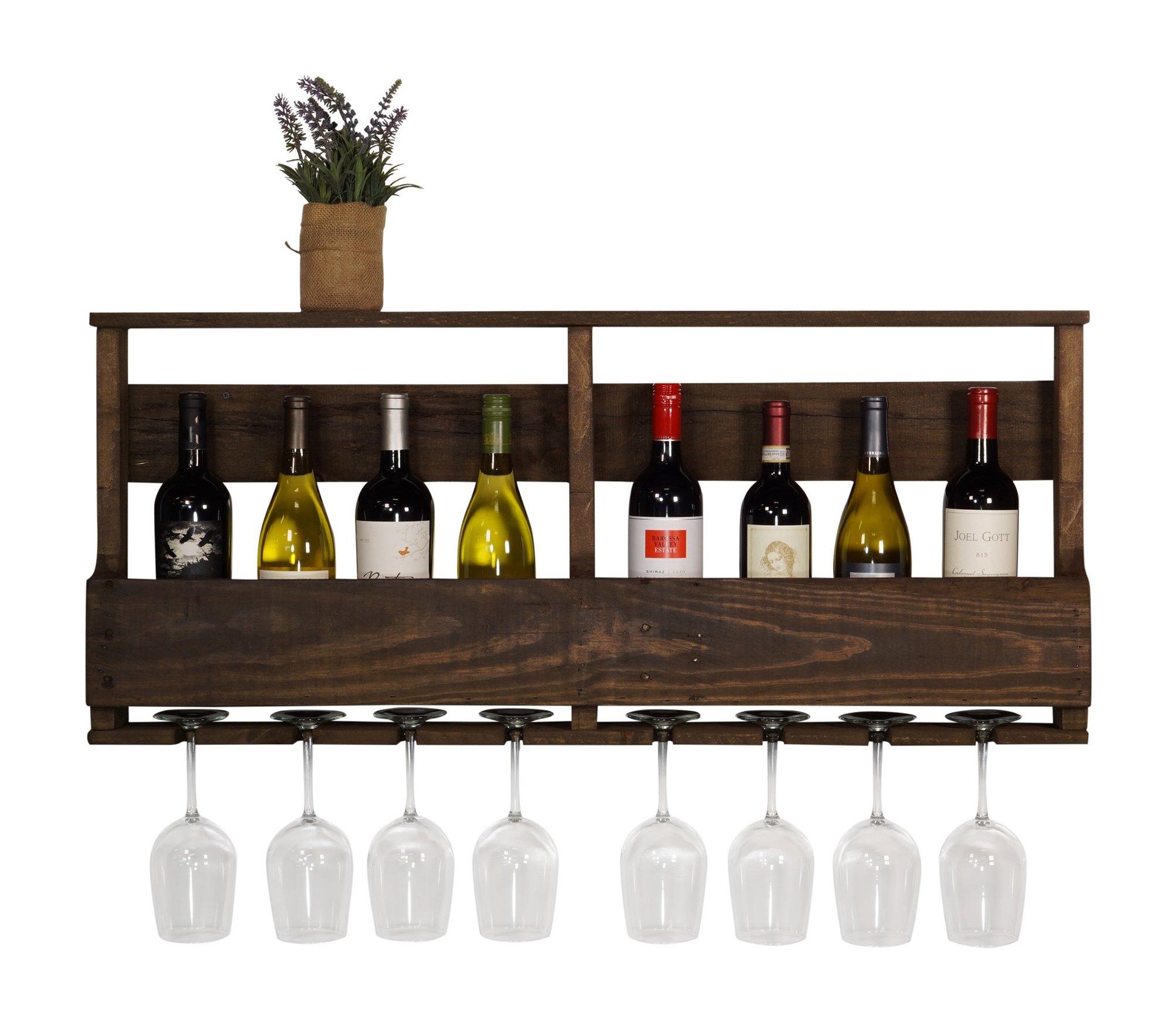del Hutson Designs - The Original Wine Rack, USA Handmade Reclaimed Wood, Wall Mounted, 8 Bottle 8 Long Stem Glass Holder & Shelf (Dark Walnut)