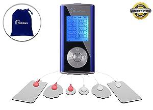 Purple TechCare Mini Massager Tens Unit Device Machine [Lifetime Warranty] Tens Machine for Drug Free Pain Management, Back Neck Shoulder Pain and Rehabilitation