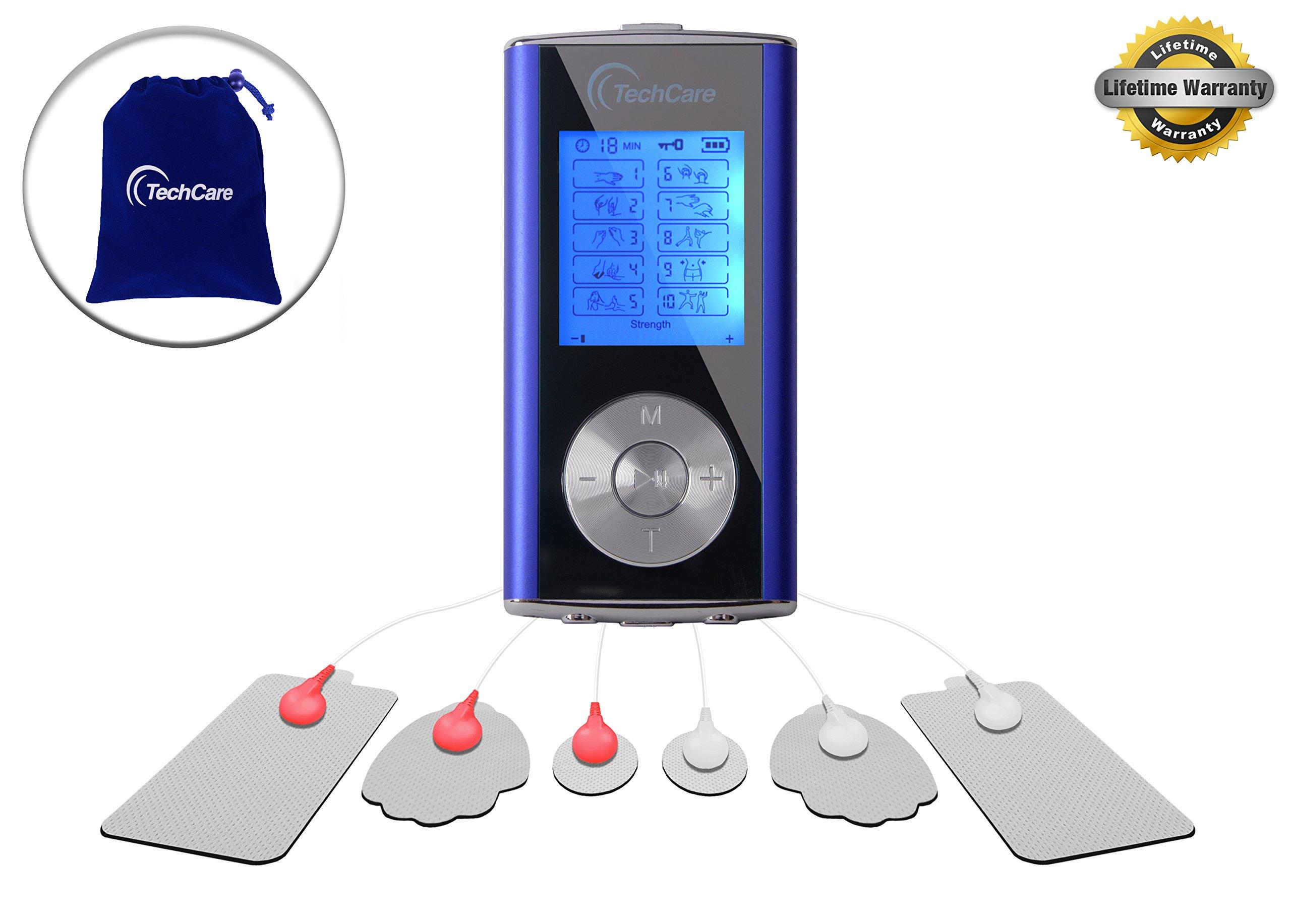 Purple TechCare Mini Massager Tens Unit Device Machine FDA 510k Cleared [Lifetime Warranty] Tens Machine for Drug Free Pain Management, Back Neck Shoulder Pain and Rehabilitation