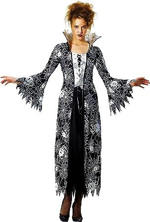Foxxeo Schwarz Silber Spinnen Hexen Vampir Kostum Fur Damen