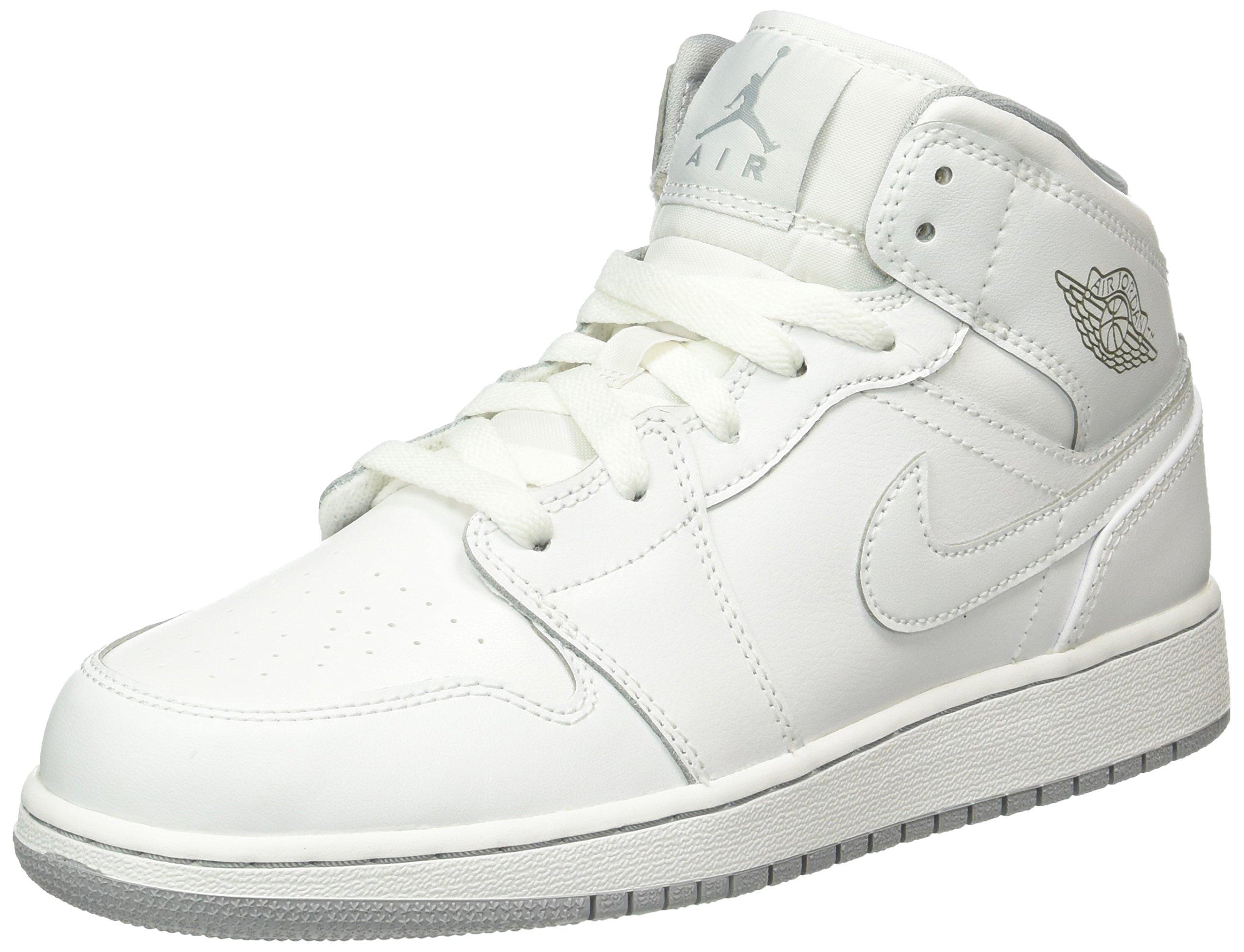 Jordan Nike Kids Air 1 Mid BG White/White/Wolf Grey Basketball Shoe 4.5 Kids US