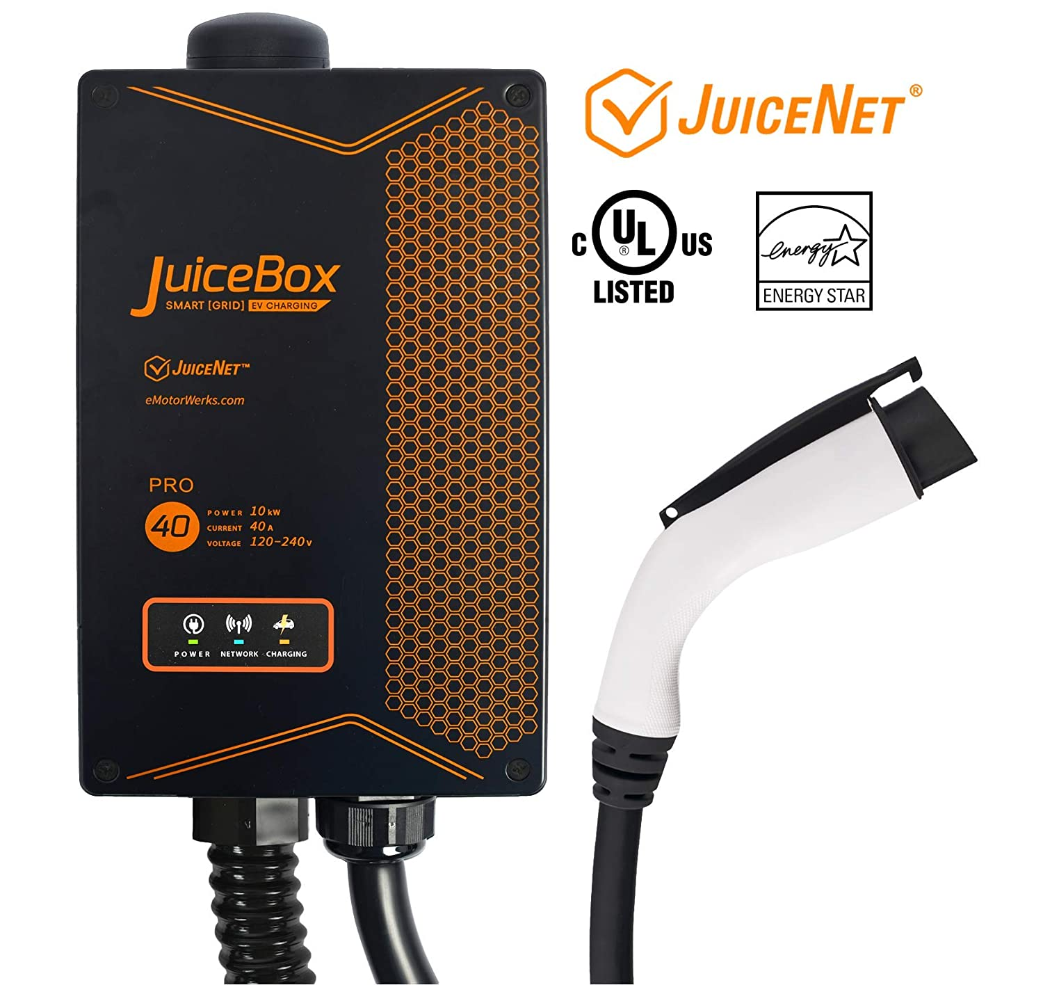 Juicebox Pro 40 With Juicenet Wifi Equipped Amp Ul Listed Conduit Wiring Futureproof System Electric Vehicle Charging Station Evse 24 Foot Cable Hardwired