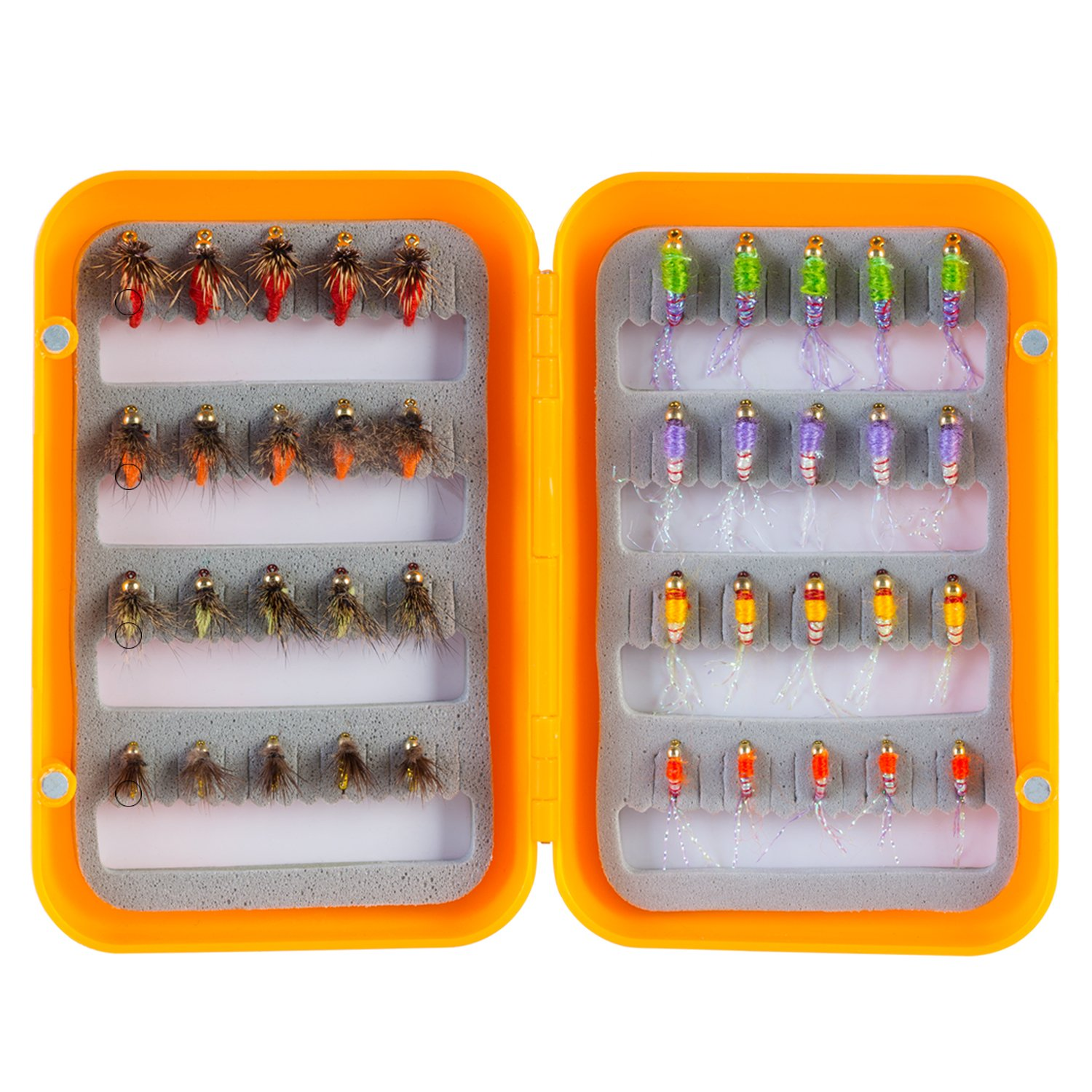 Piscifun 40pcs Wet Flies Fly Fishing Lures Bass Salmon Trouts Sinking Flies Assortment with Fly Box 8#,10#,12#,14# Hook
