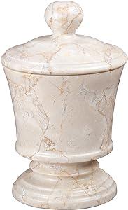 Creative Home Champagne Marble Pedestal Cotton Ball Holder