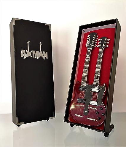 Guitare miniature de Jimmy Page des Led Zeppelin avec support