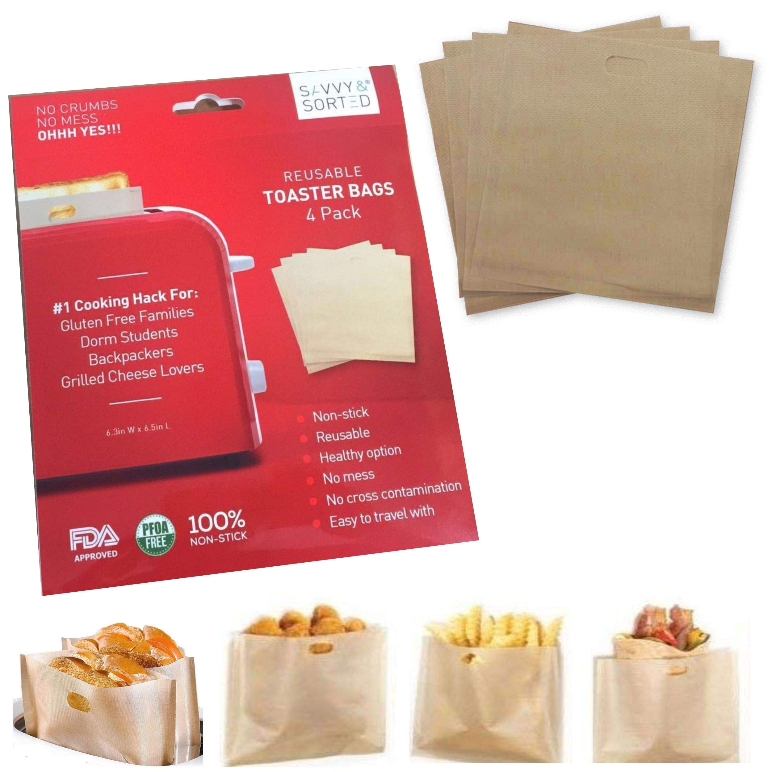 ekSel Toaster Bags Reusable Non-stick Gluten Free Nuggets Chicken Garlic Toasts FDA Approved BPA free Pack of 15 Perfect for Grilled Cheese Sandwiches FDA Approved