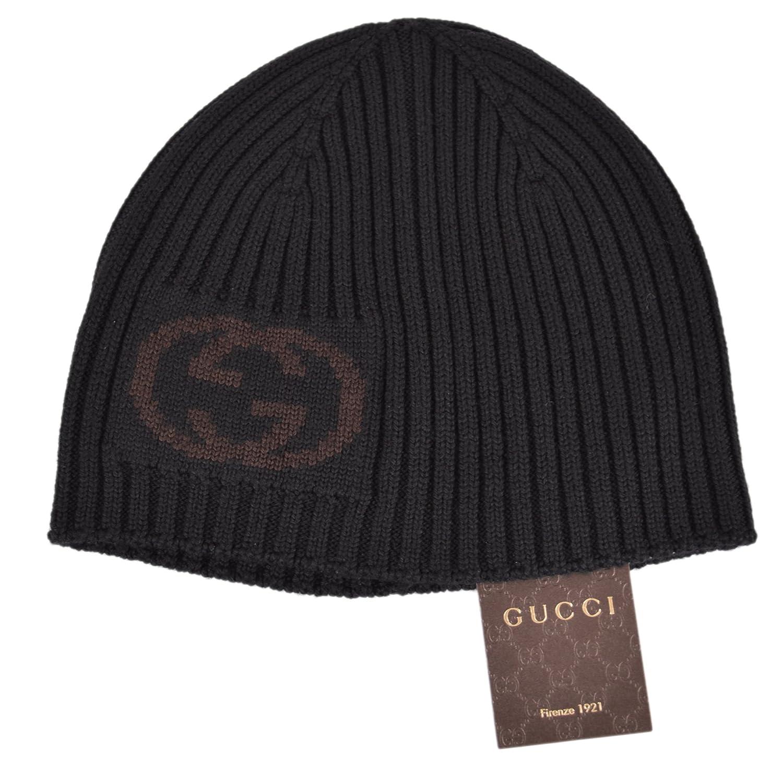 Amazon.com  Gucci Men s Black Wool Interlocking GG Logo Beanie Hat  Clothing 785c8eae3d2