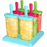 Popsicle Molds, Ezire Pop Molds Reusable Molds Maker BPA Free with Tray and Dripguard Function , Set of 6 (Green Blue Red)