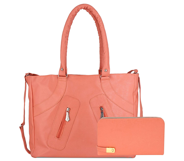 DAMDAM Combo of PU Leather Women's Handbag and Wallet Clutch