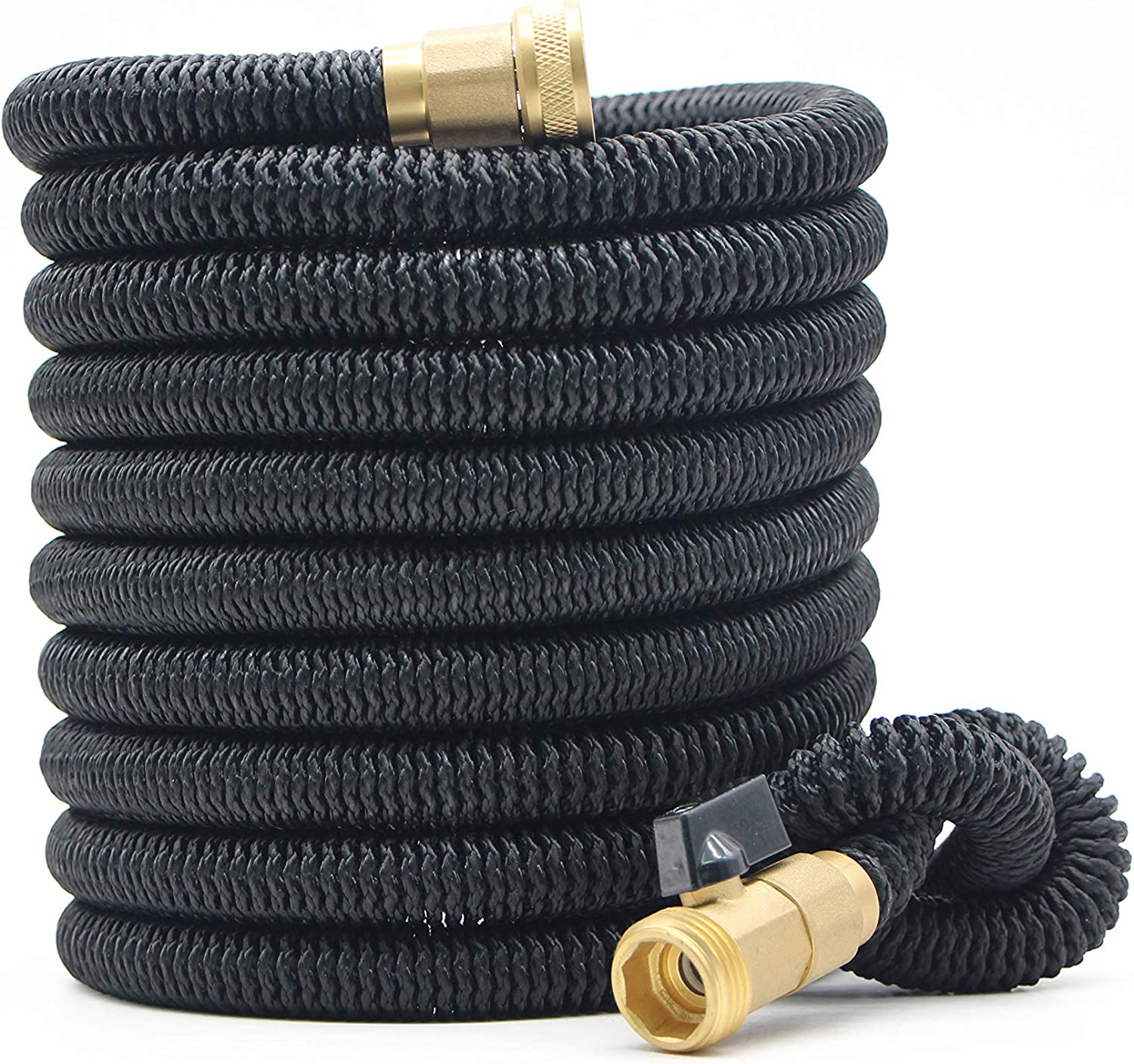 Expandable Garden Hose 50Ft Extra Strong reel. Brass Connectors with Protectors 100% No-Rust & Leak. Best Water Hose for Pocket Use. 100% Flex Expanding 50 ft (black)
