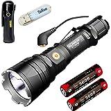 Klarus XT12GT Tactiques Torches CREE LED XHP35 HI D4 1600 Lumen Lampe de poche à DEL magnétique Lumière de torche rechargeable Inclus 2 * batterie 3600mAh 18650 + chargeur magnétique + lumière USB