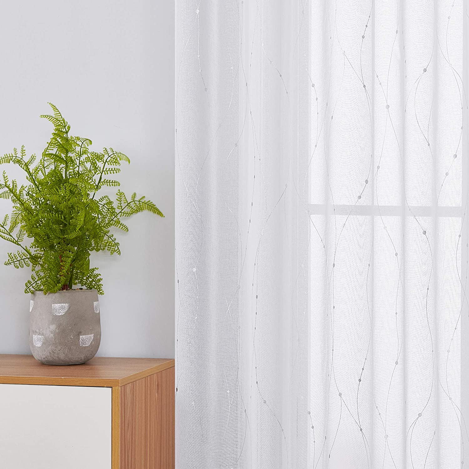 Deconovo Foil Printed Sheer Curtains Drapes Dotted Line Super Soft Decorative Semi Transparent Eyelet Voile Faux Linen Curtains for Bedroom 55 x 72 Inch White 1 Pair