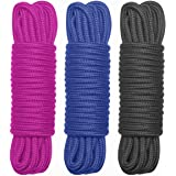 BONTIME All-Purpose Soft Cotton Rope - 32 Feet Length,1/3-Inch Diameter(Rose,Navy Blue,Black,Pack of 3)