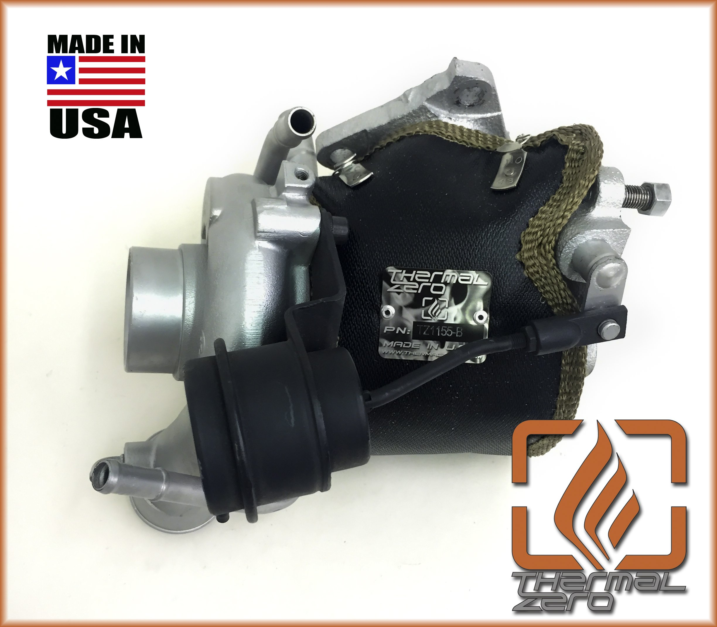 TZ1155-B MADE IN USA Thermal Zero 2500°F Wrap around Turbo Blanket - Black + Compatible with most OEM Subaru VF series turbochargers + replacement for turbo heat shield by Thermal Zero