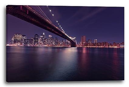 Città skyline new york ponte notturno ponte di mare luci notturne