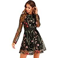 Milumia Women's Round Neck Floral Embroidered Mesh Long Sleeve Dress