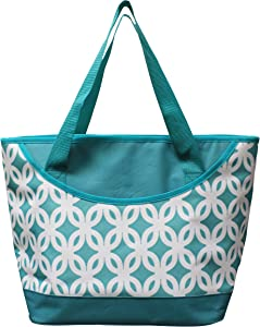 Earthwise Insulated Grocery Bag Reusable Large Cooler Shopping Tote with Zipper Closure, Thermal Peva Lining and Front Pocket for Entertainment, Picnics, Travel, Beach(Turquoise)