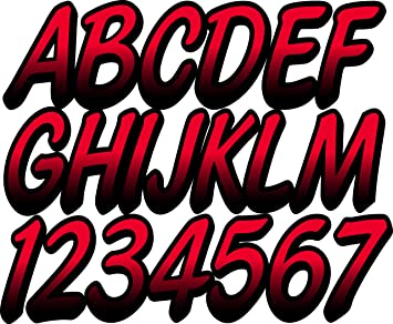 BLACK W// RED Custom Boat Registration Numbers Vinyl Decals Stickers Stickers