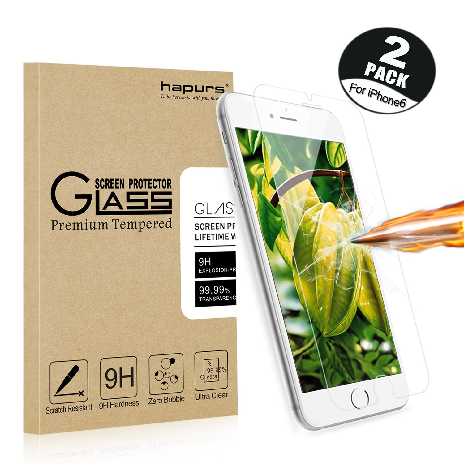 [2-Pack] iPhone 6S / 6 Screen Protector, Hapurs iPhone 6S iPhone 6 Tempered Glass Screen Protector 0.3mm Premium High Definition Shockproof Screen Film for iPhone 6S/6