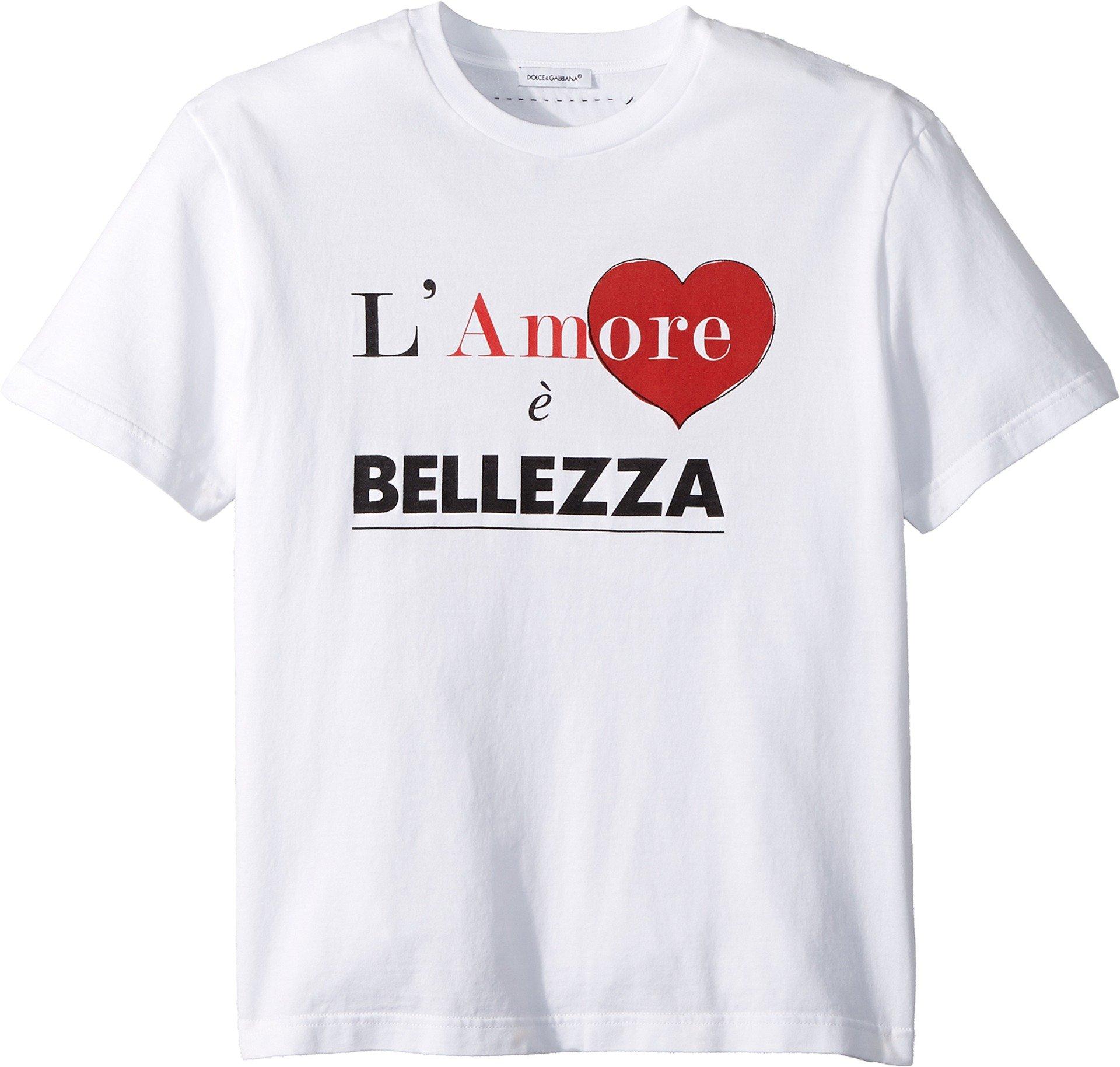 Dolce & Gabbana Kids Girl's Love & Bellezza T-Shirt (Big Kids) White 10