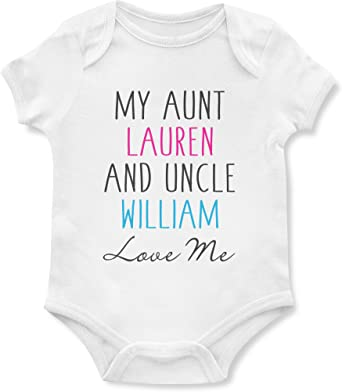 Girls Present New Personalised Baby Vests Bodysuits for Boys I Love My Uncle
