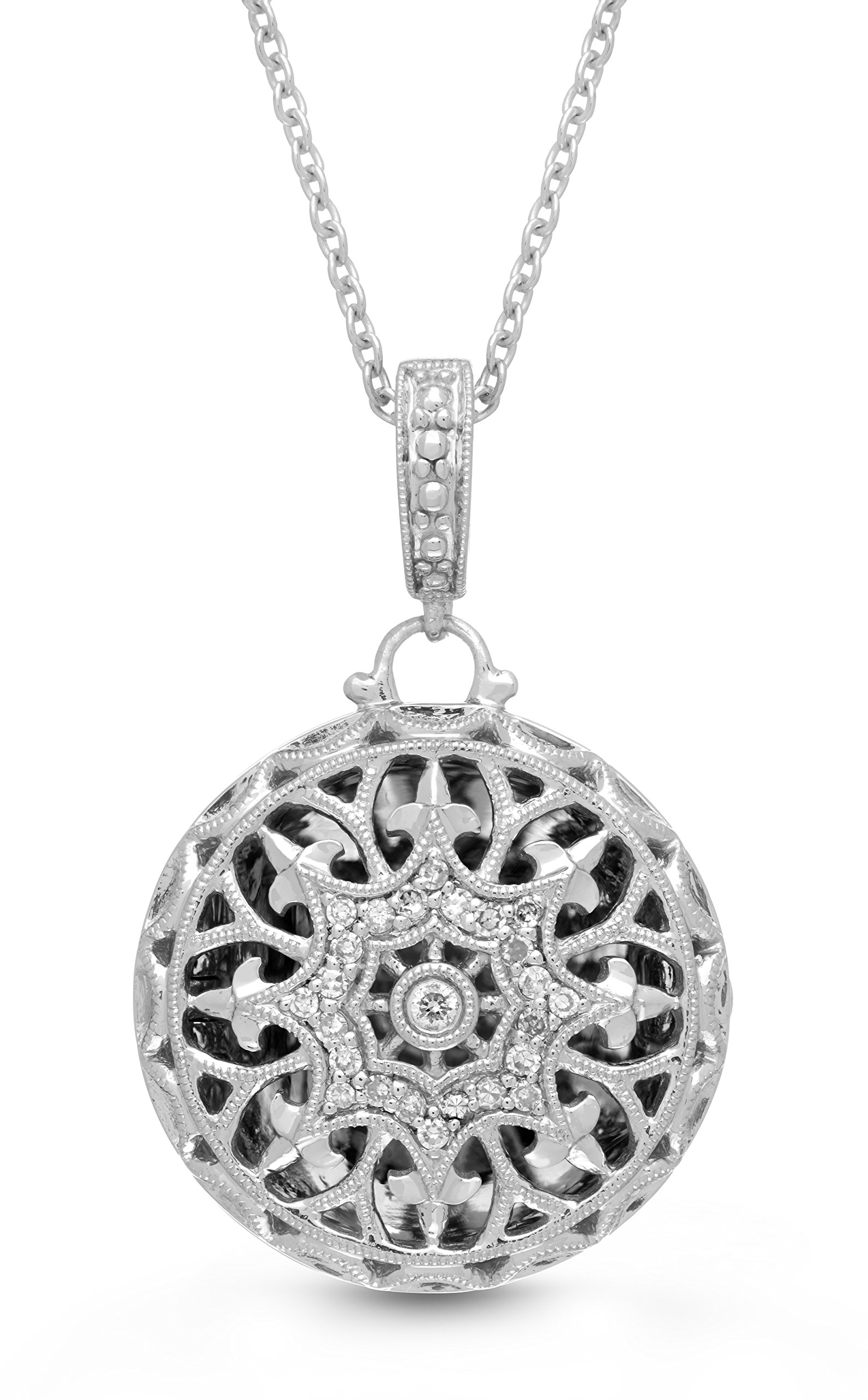 Sterling Silver-Diamond-Round-Custom Photo Locket Necklace-22-inch chain-The Beatrice by With You Lockets