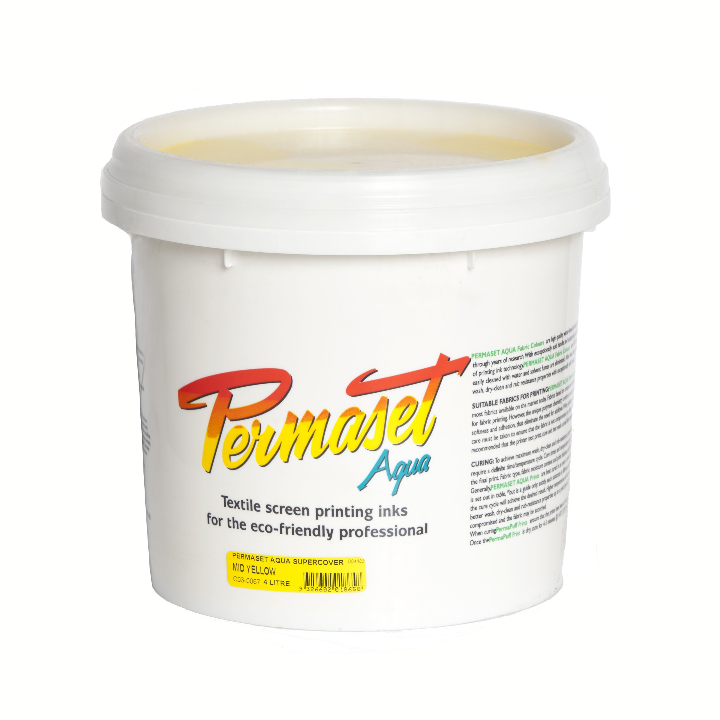 Permaset Aqua Supercover 4 Litre Fabric Printing Ink - Mid Yellow by OfficeMarket