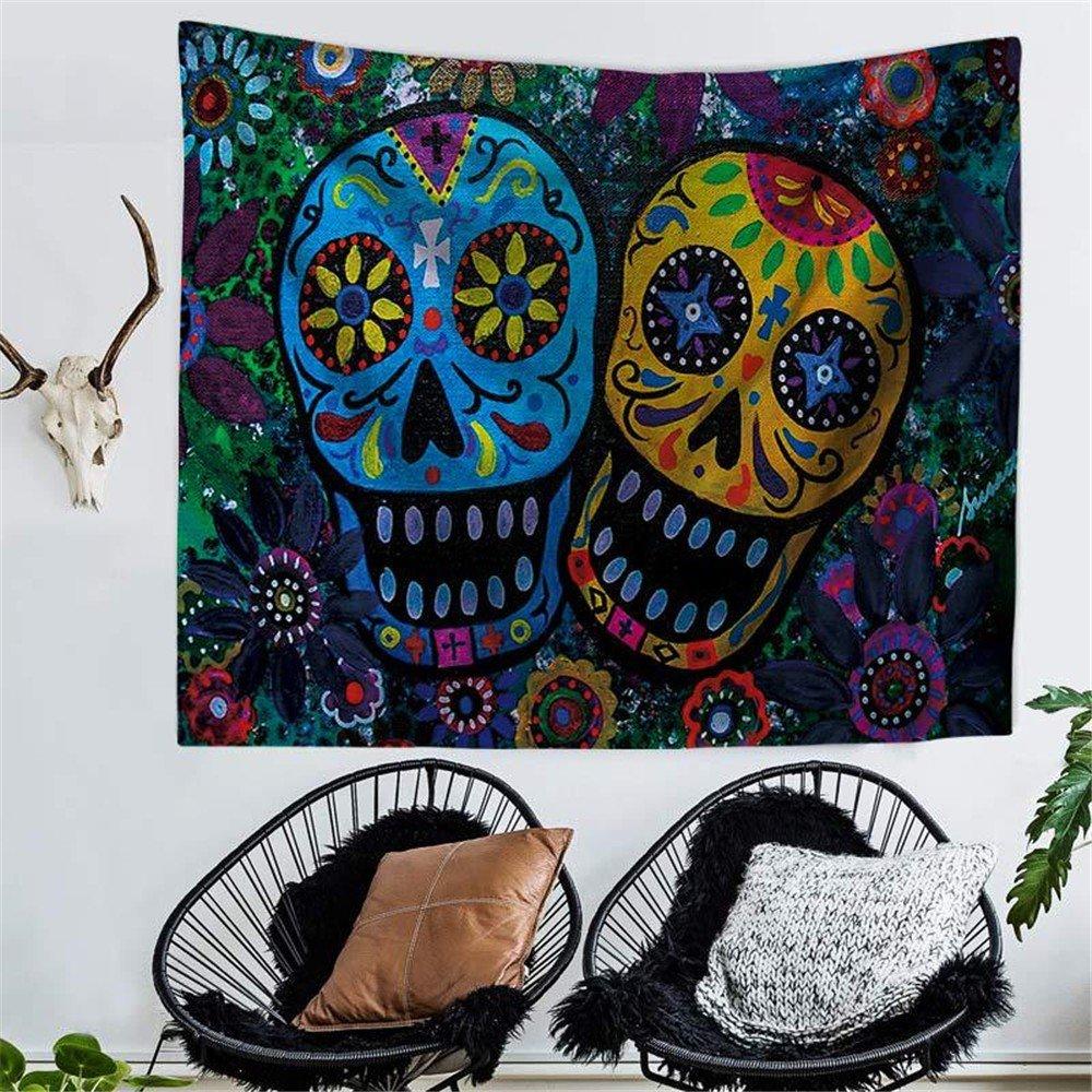 HmDco Asciugamano da spiaggia appeso a parete con stampa di arazzi colorati con teschio di Boemia, 1 #, 150 * 130 cm