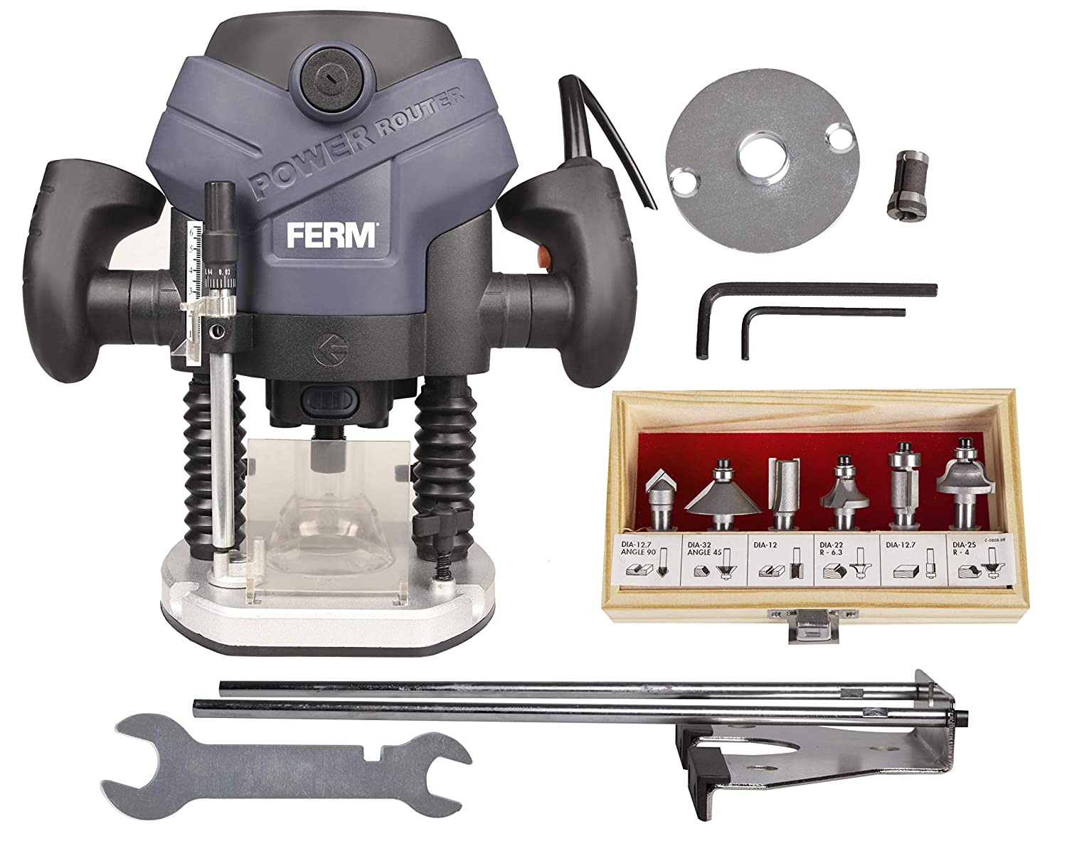 FERM PRM1015 - precisionRouter - Plunge Router - 1300W - 6-8mm -  LED-Worklight - Dust Extraction - With Parallel Guide, Template Guide and 6  Router Bits: ...