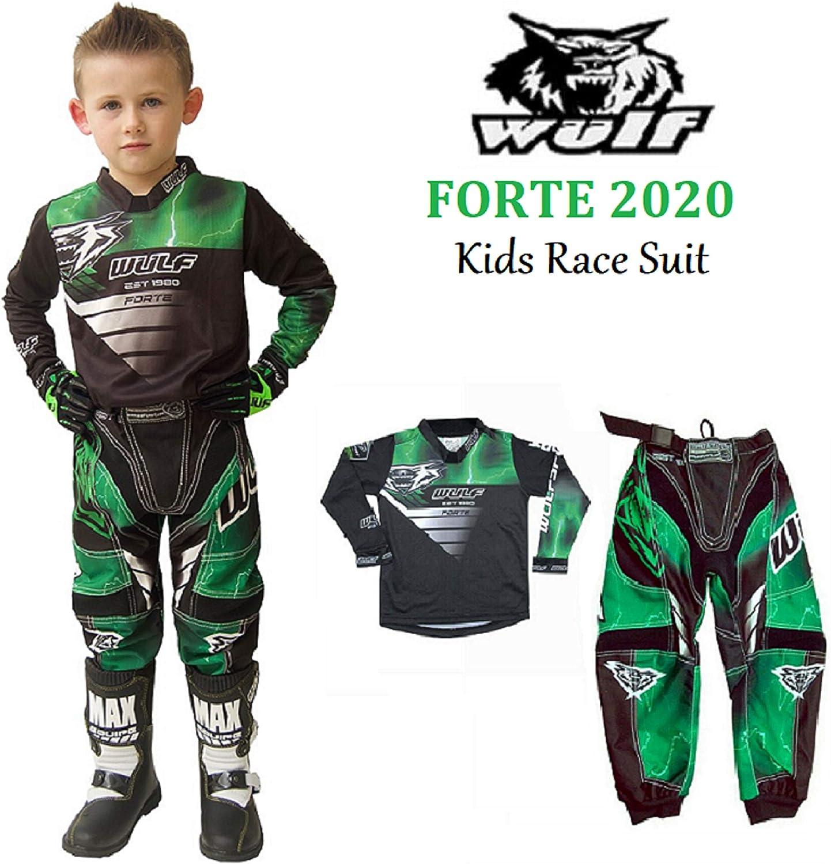 pit bike quad Wulfsport Forte 2020 Combinaison de course pour enfant pour moto ATV BMX Vert