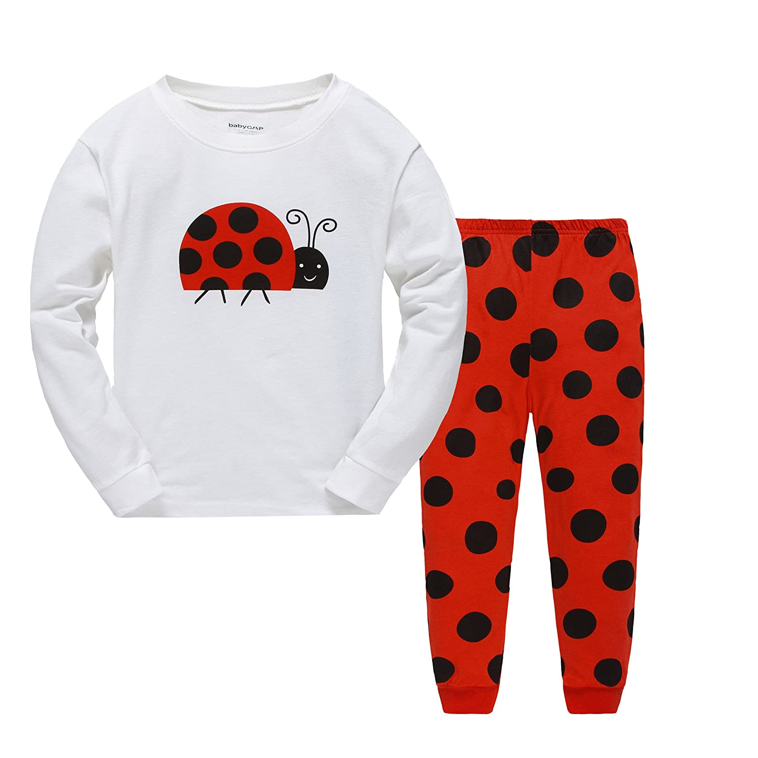 Girls Pajamas Sets Ladybug Kids Pjs Cotton Long Sleeve Sleepwears 2-7 years Cczmfeas