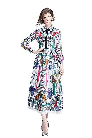 9c52351ced Fashionlucky 2018 Fall Runway Vintage Print Collar Turn Down Neck Long  Sleeve Empire Waist Women Party