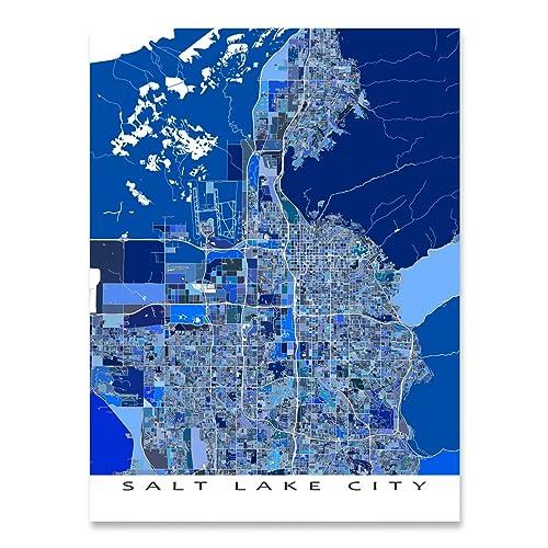 Amazon.com: Salt Lake City Map Print, Utah, USA, Blue City Poster ...
