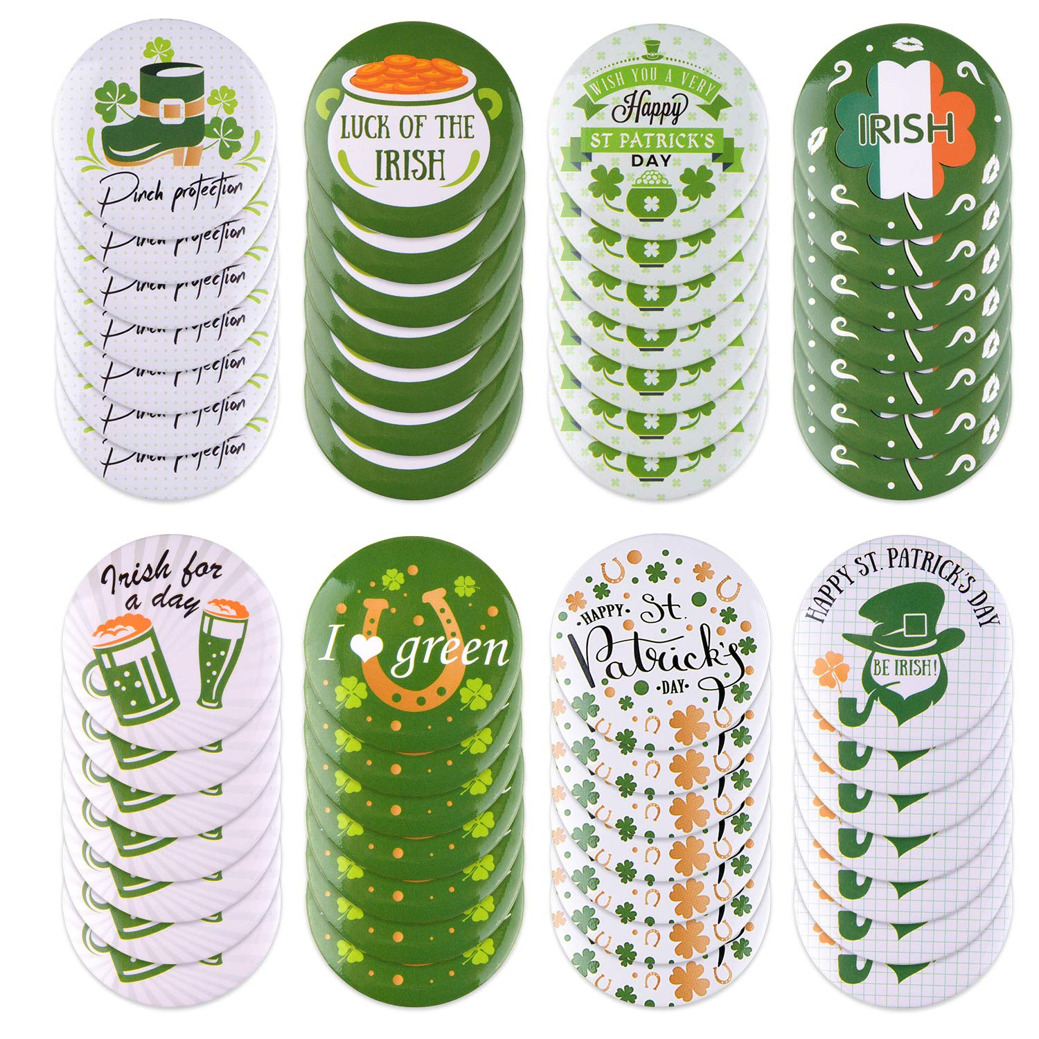 Patricks Day Decoration,St TUPARKA 48 Pcs St Patricks Day Irish Buttons Pins Mini Shamrock Badges For St Patricks Day Party Favors Supplies Kids Gift 8 Patterns