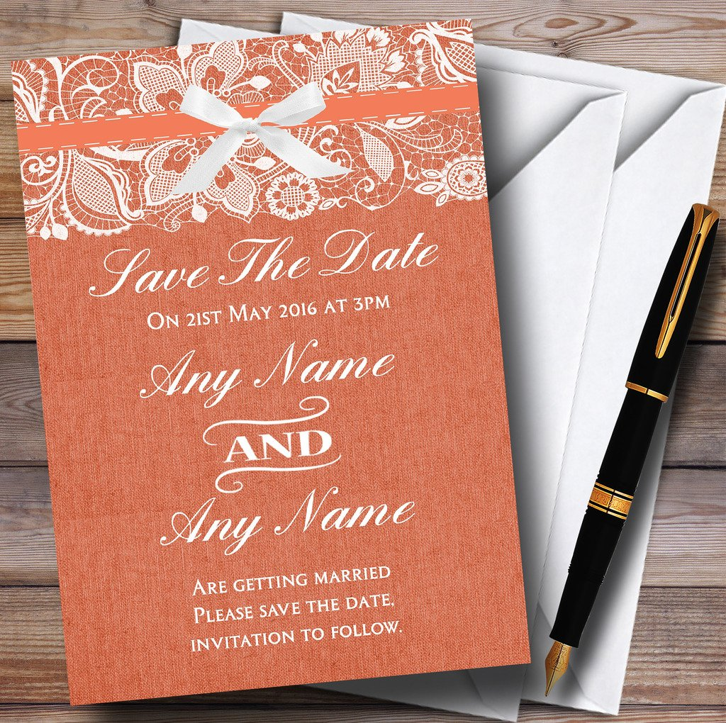 Amazon.com : Vintage Coral Burlap & Lace Personalized Wedding Save ...