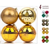 """iPEGTOP 4ct 100mm/4"""" Christmas Balls Ornaments, Shatterproof Elegant Hand Painted Gold Hanging Christmas Tree Baubles for Crafting Party Holiday Decorations"""