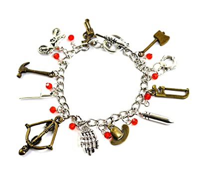 The Walking Dead Charm Bracelet - Zombie Pendant with Hatchet, Crossbow, Pistol and Rick Grimes Sheriff Hat