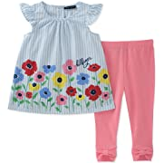 Tommy Hilfiger Baby Girls Leggings Set, Blue Stripes/Pink, 3-6 Months