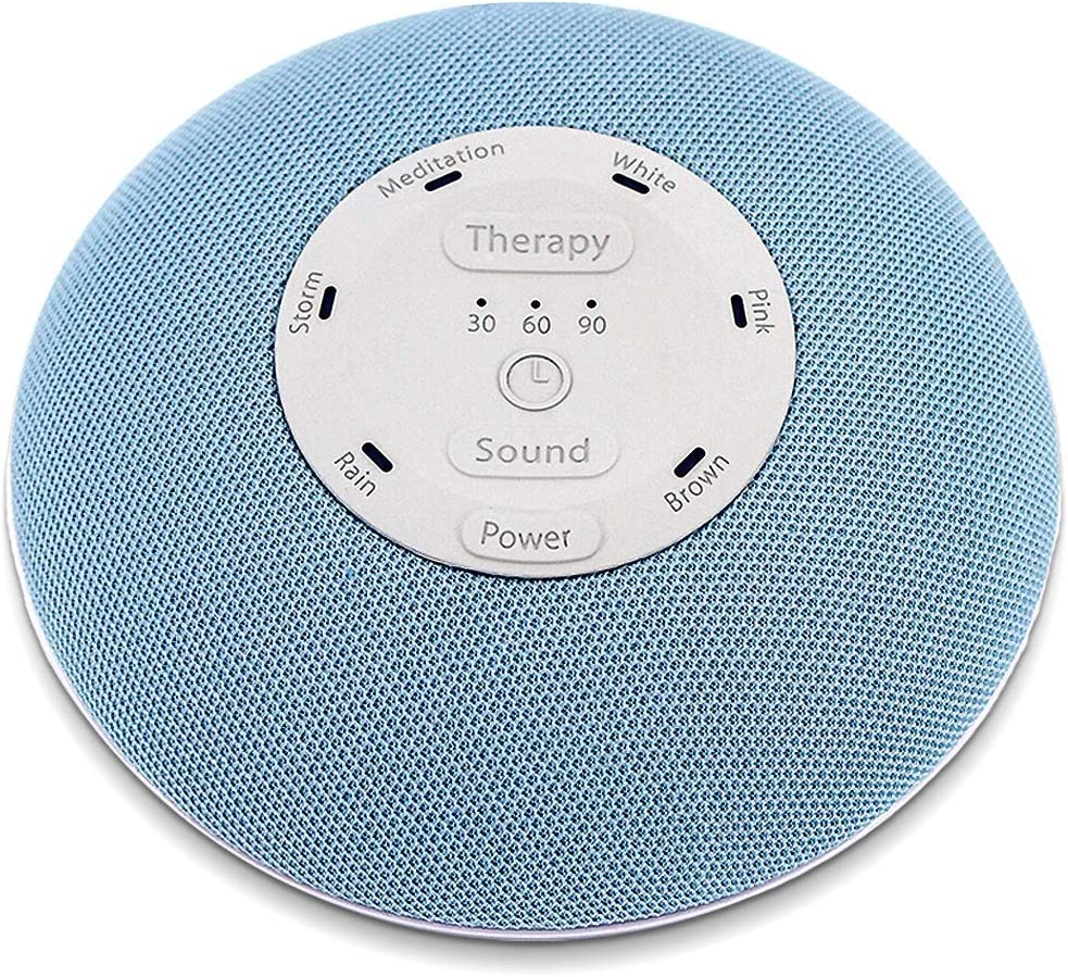 HoMedics Deep Sleep Mini Portable Sleep Sound Machine | 3 Programs, 3 White Noises, 2 Sounds, Guided Meditation, Auto-Off Timer, Rechargeable Battery | Blue