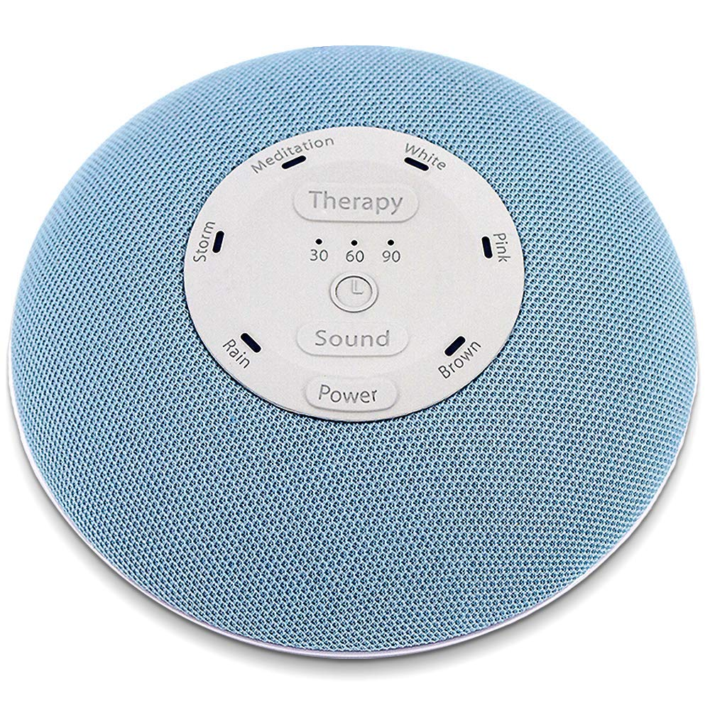 HoMedics Deep Sleep Mini Portable Sleep Sound Machine | 3 Programs, 3 White Noises, 2 Sounds, Guided Meditation, Auto-Off Timer, Rechargeable Battery | Blue