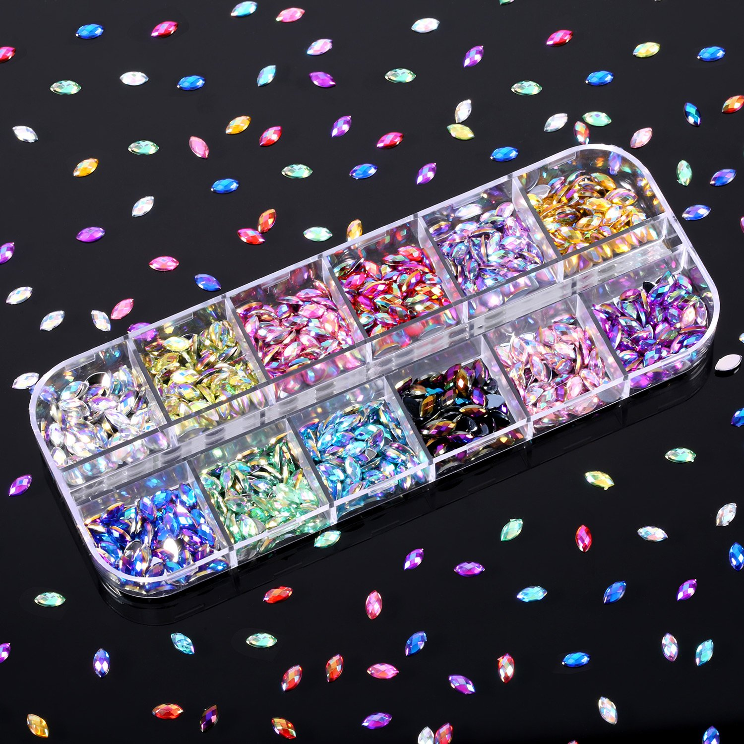 Review about TecUnite 1200 Pieces 12 Colors Shiny Nail Art Rhinestones Flat Back Nail Gems Decorations Supplies with Box