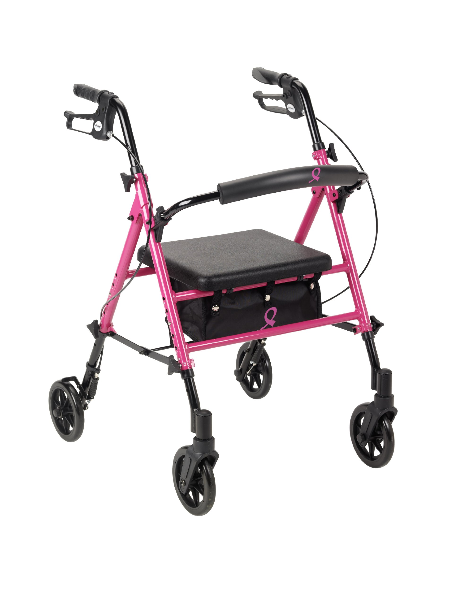 Drive Medical Breast Cancer Awareness Adjustable Height Pink Rollator, Pink