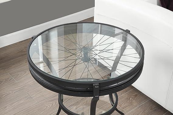 Amazon.com: Martillado Negro Mesa decorativa con vidrio templado, de 20 pulgadas: Home & Kitchen