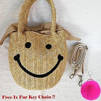 Amazon.com: Bordado Cute Woven Emoji Cara Sonriente paja ...