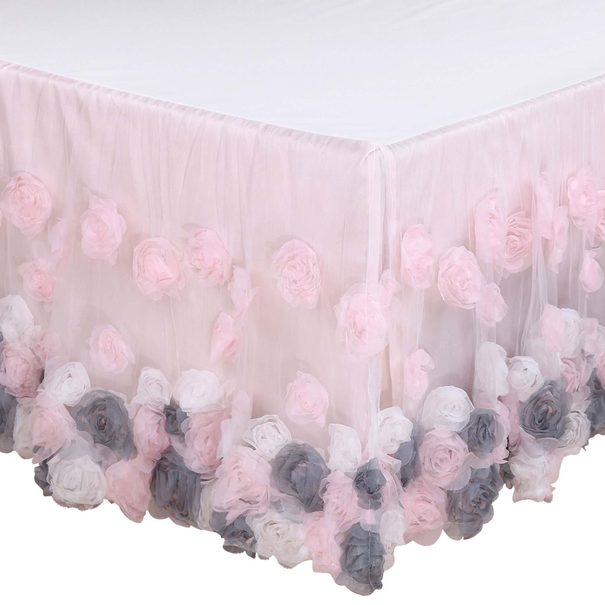 Colette Floral Rosette Crib Dust Ruffle by The Peanut Shell