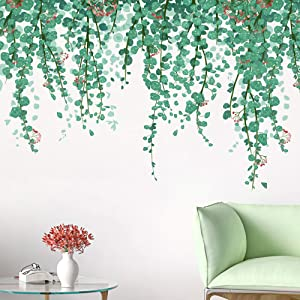 RW-9051 Green Tropical Leaves Wall Decals Nature Hanging Green Vine Wall Stickers DIY Removable Fresh Leaves Plants Flowers Wall Decor for Kids Baby Bedroom Living Room Kitchen Nursery Decoration